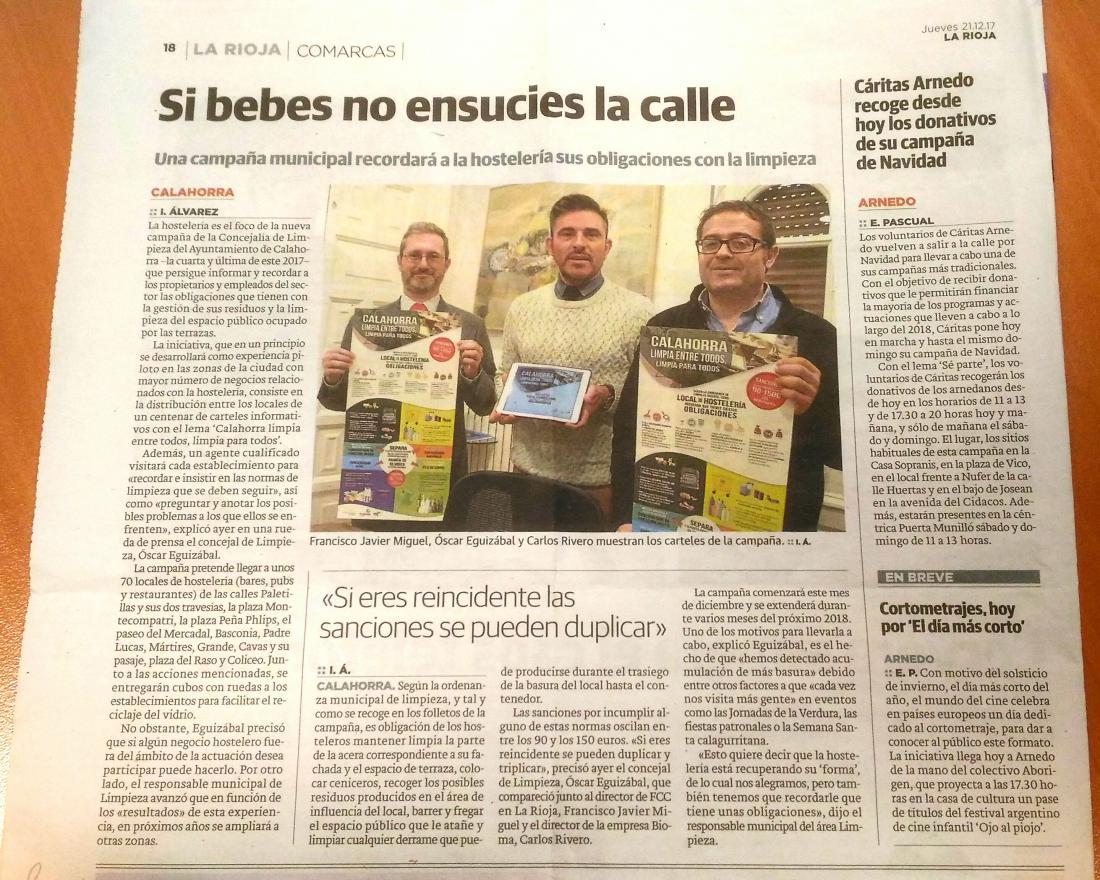 """Cartel de la campaña de reciclaje """"La solución más fácil"""" en Calahorra. Bioma."""
